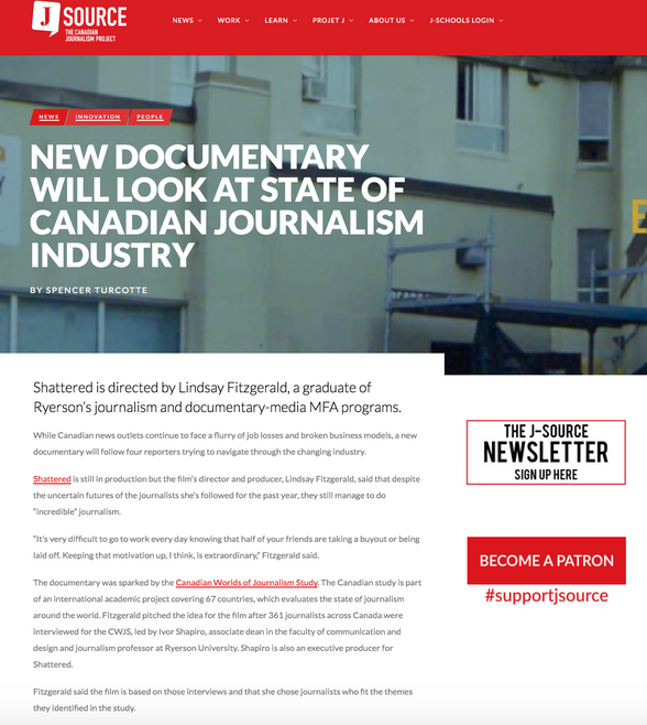 """""""New Documentary Will Look at the State of Canadian Journalism Industry"""" –J-Source"""