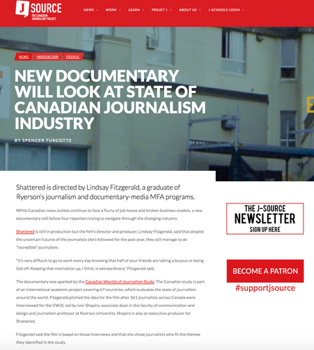 """New Documentary Will Look at the State of Canadian Journalism Industry"" – J-Source"