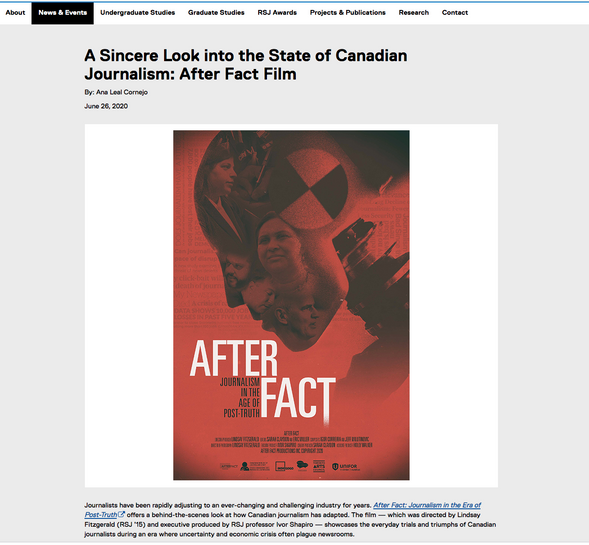 """""""A Sincere Look into the State of Canadian Journalism"""" –Ryerson Journalism News"""