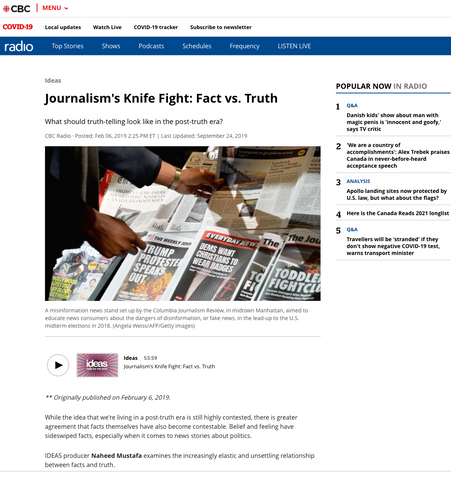 "CBC IDEAS: Interview with Producer Lindsay Fitzgerald for ""Journalism's Knife Fight: Fact vs. Truth"""