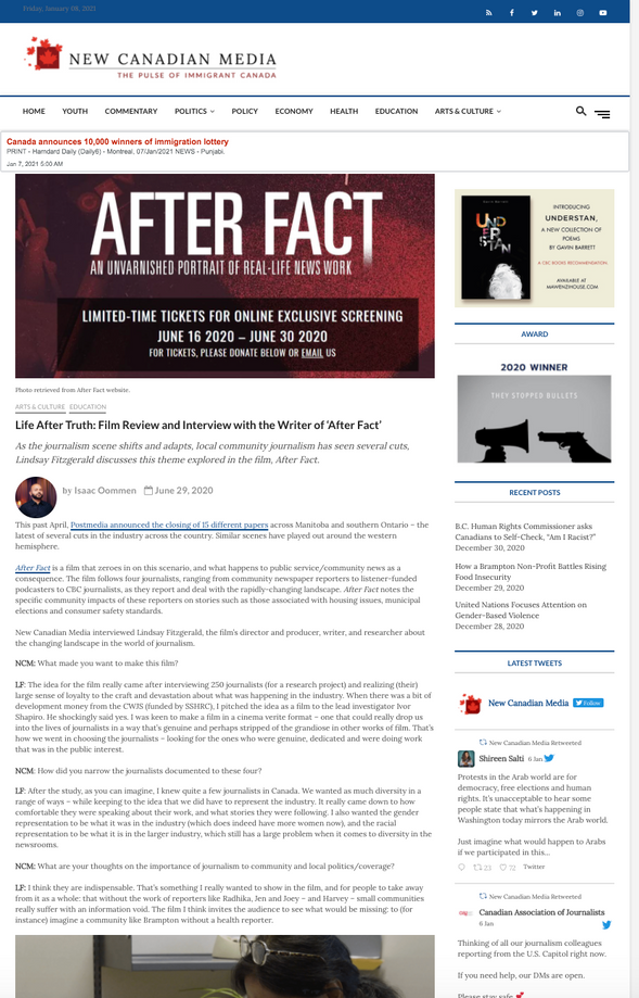 """""""Life After Truth: Film Review and Interview with the Writer of After Fact"""" –New Canadian Media"""