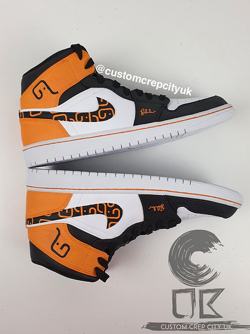 Custom Air Jordan 1 Mid Patterned (White, Black & Blaze 8 Orange)