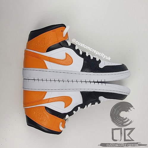 Custom Air Jordan 1 Mid (White, Black & Blaze 8 Orange)