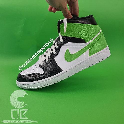 Custom Air Jordan 1 Mid (White, Black & Light Green)