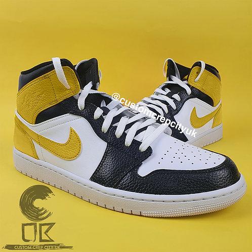 Custom Air Jordan 1 Mid (White, Black & Yellow)