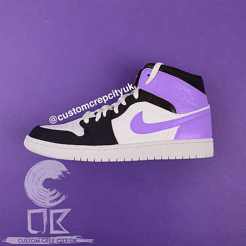 Custom Air Jordan 1 Mid (White, Black & Lilac)