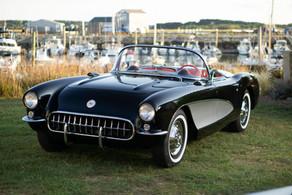Sitting Pretty. 1956 Corvette Wellfleet Harbor @autosaggio