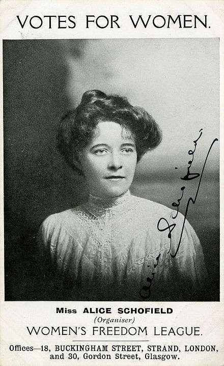 Alice Schofield was a women's rights campaigner, born in Cleveland and based in Middlesbrough around this time.