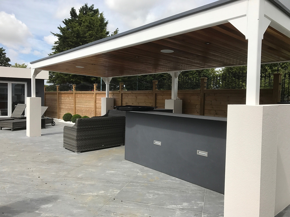 Outdoor Kitchen with Sonance Extreme Outdoor Speakers.