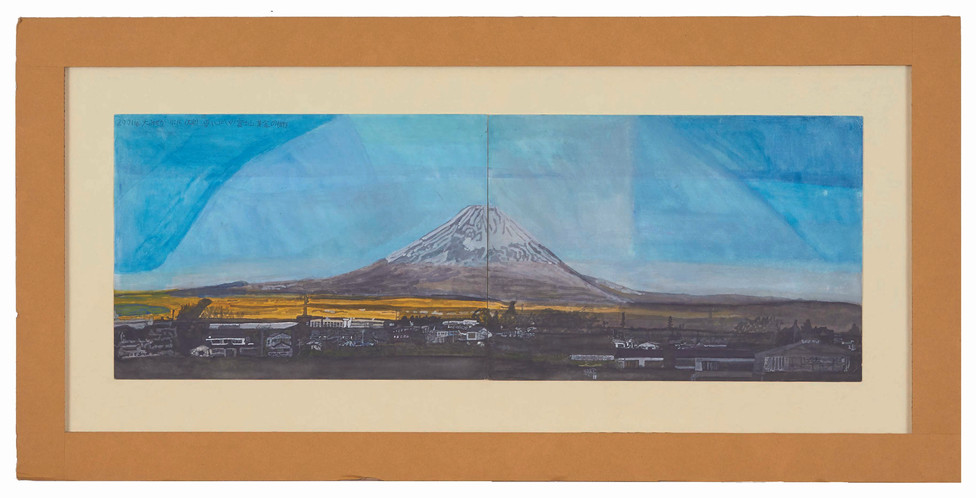 2001年大みそか 7:16 雪いっぱいの富士山 金色の裾野