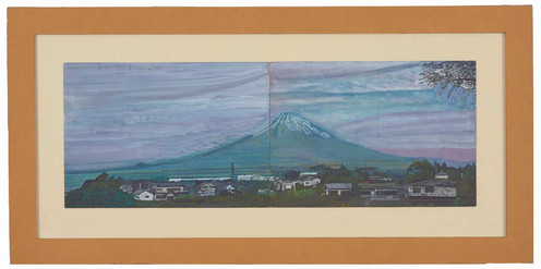 2001年6月2日7:16 朝の雪少ない富士山 雲が広がっている。
