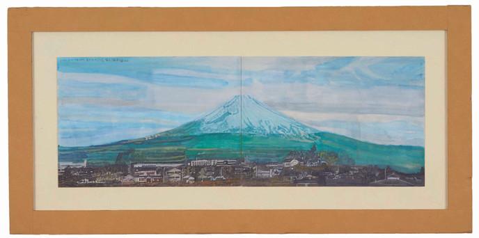 2002-3-16-7:16 雪が広がっている。雪沢山青緑の富士山