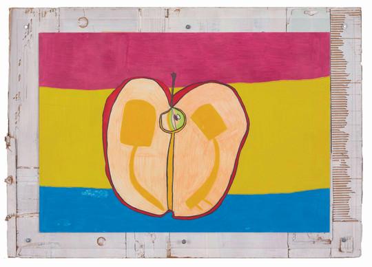 へたがついていてみつがたまったひょう面むき出しのりんご