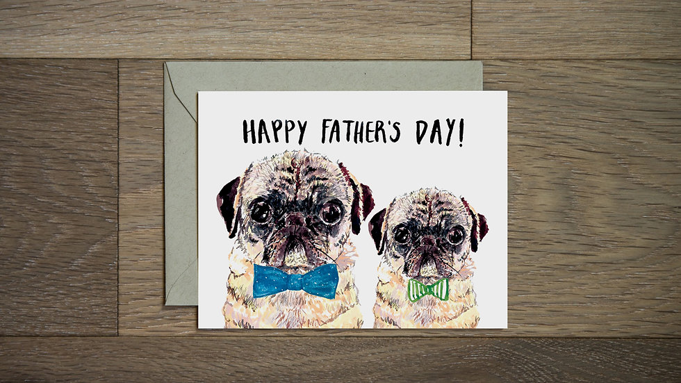 Pug dad Father's Day greeting card