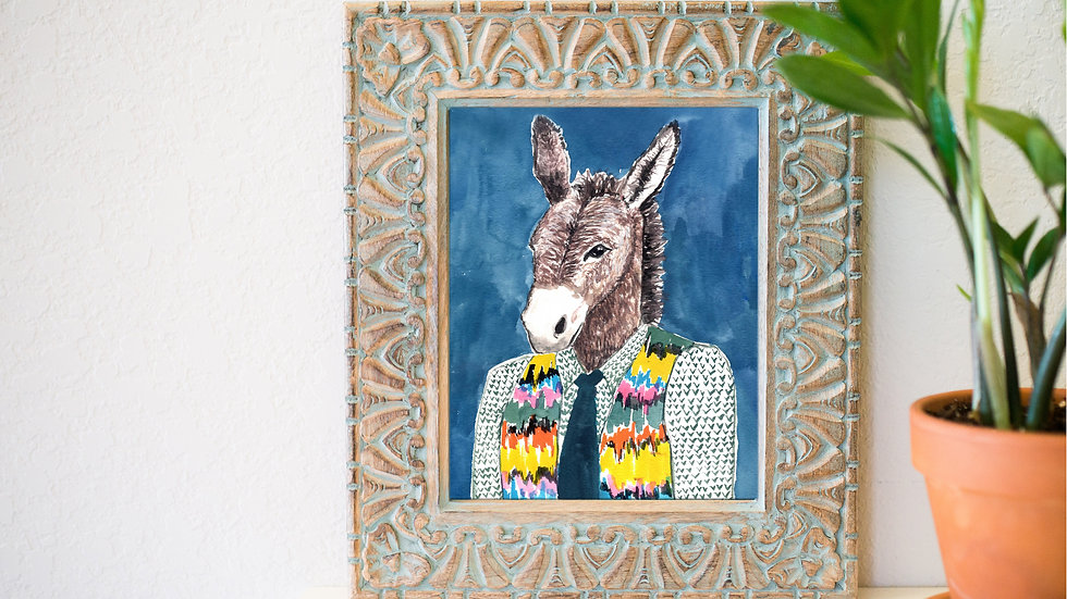 Handsome donkey fine art print