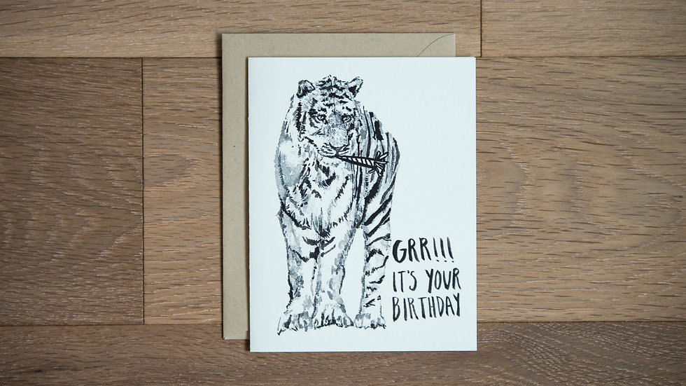 Black and white Tiger birthday greeting card