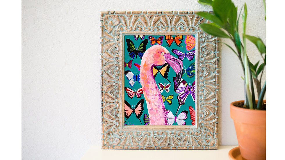 Lady Flamingo and butterflies art print