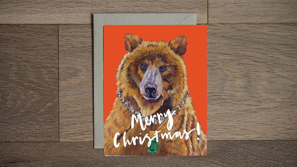 Fancy Christmas bear Greeting Card