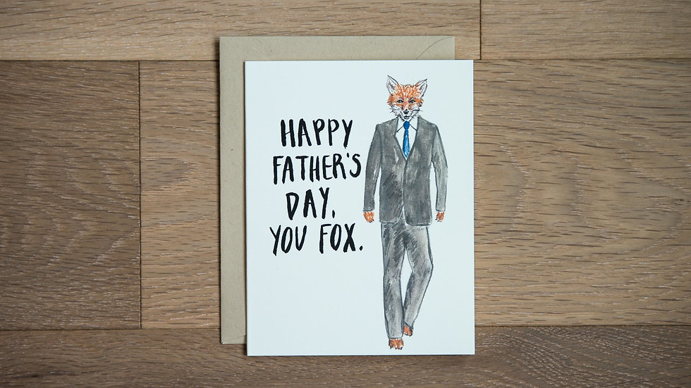 Dapper fox Father's Day greeting card