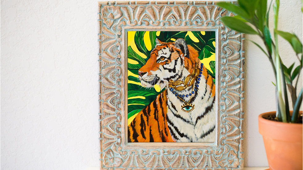 Tiger and evil eye art print