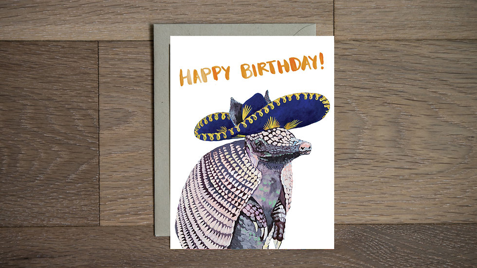 Fiesta Armadillo birthday card