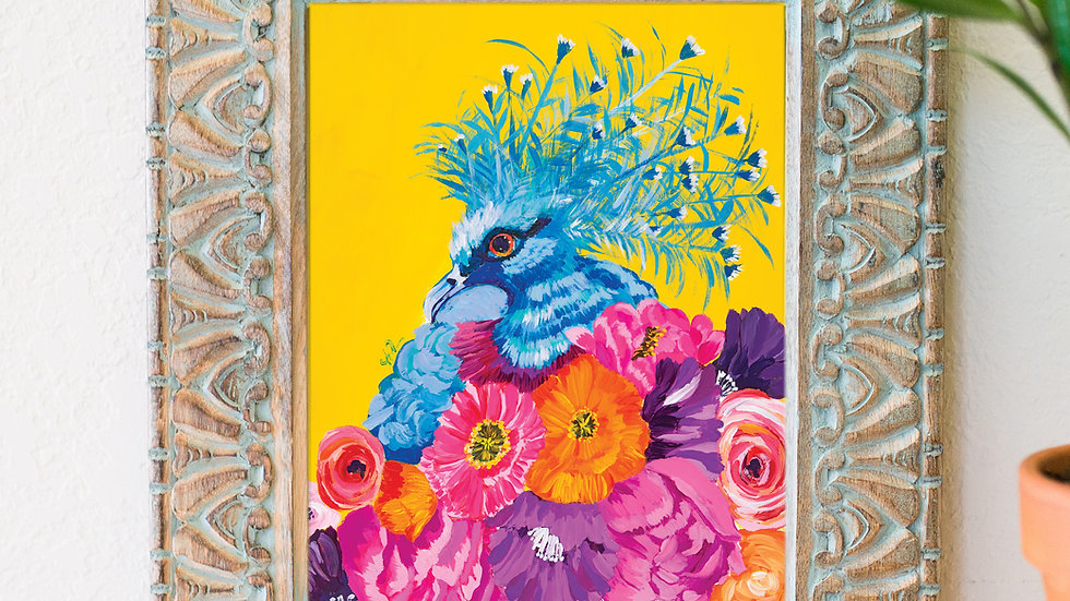 Beautiful bird and floral fine art print