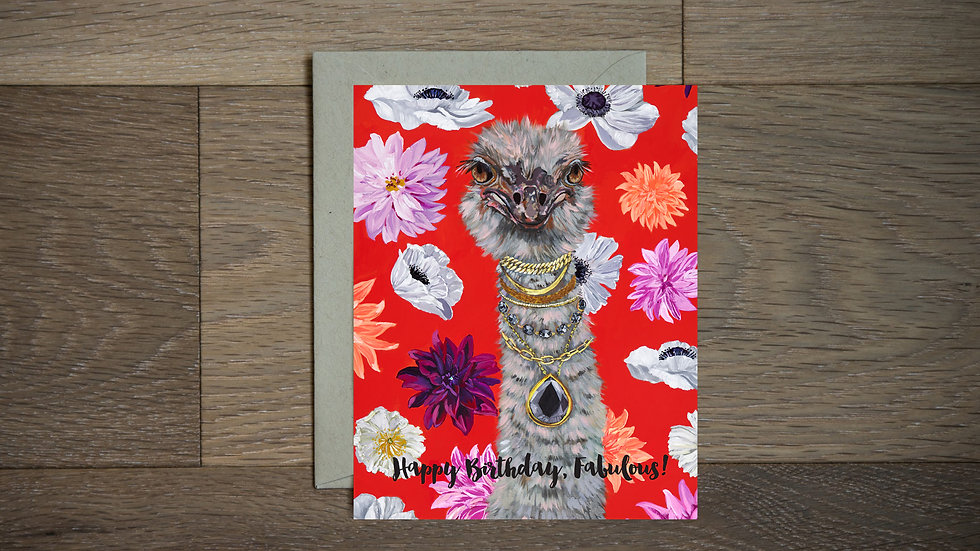 Fabulous ostrich birthday greeting card