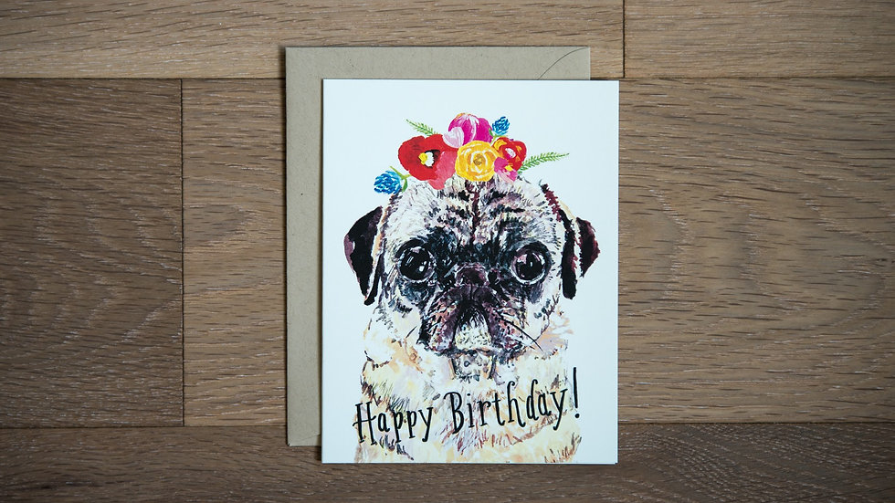 Birthday pug greeting card
