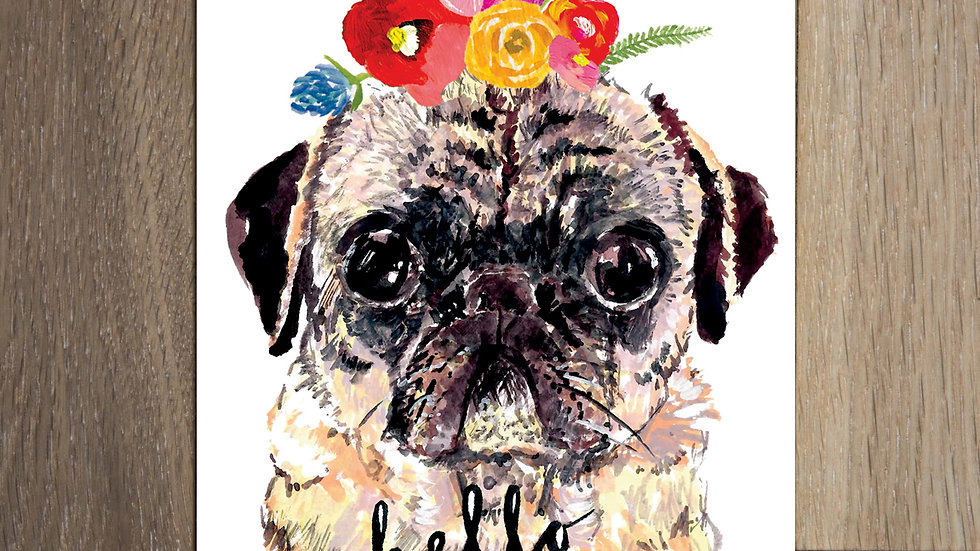 Set of 8 Pug Postcards