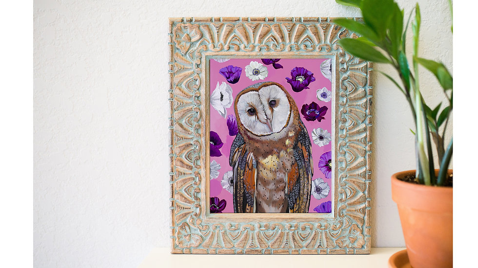 Beautiful barn owl and poppies art print