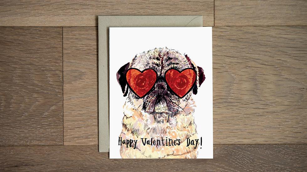 Pug love valentine card