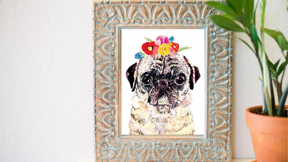 Lady pug fine art print