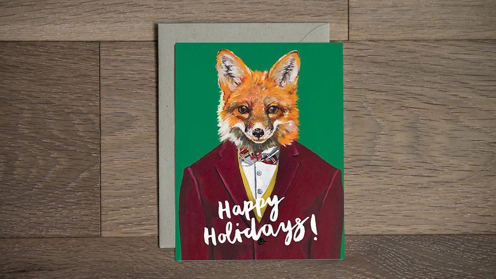 Dapper Holiday fox Greeting Card