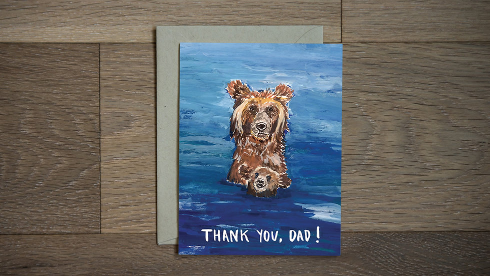 Sweet bear dad and son Father's Day greeting card