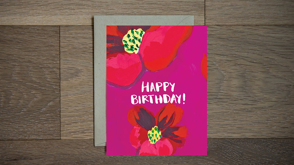 Magenta Floral birthday card with yellow centers