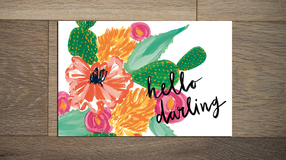 Set of 8 Cactus flower Postcards