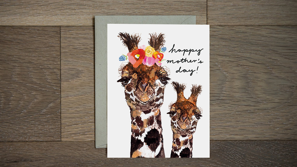 Giraffe mama and baby Mother's Day greeting card