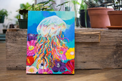 Jellyfish and flower painting