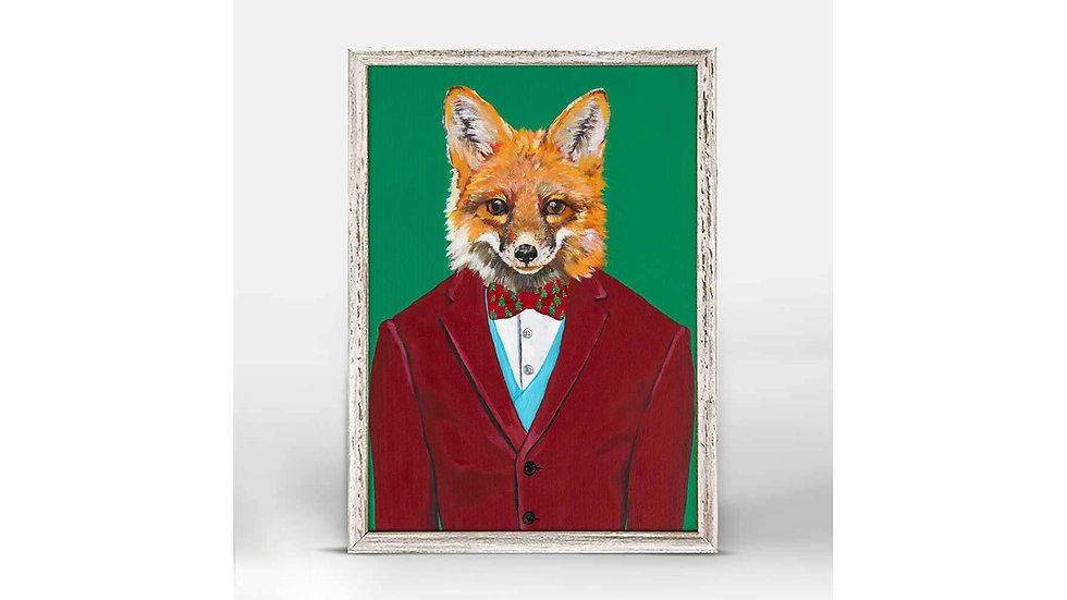 Fancy Holiday Fox Mini Framed Print