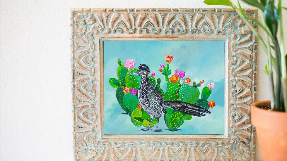 Beautiful roadrunner and cacti print