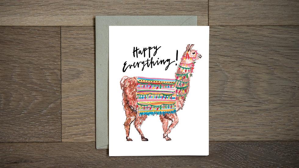 Llama holiday greeting card
