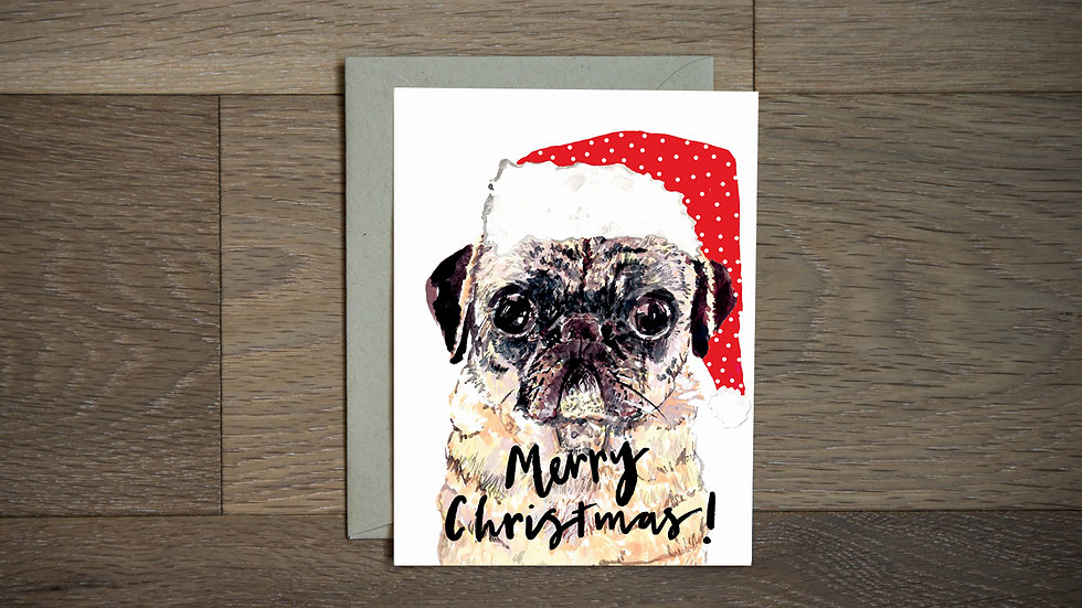 Pug holiday greeting card