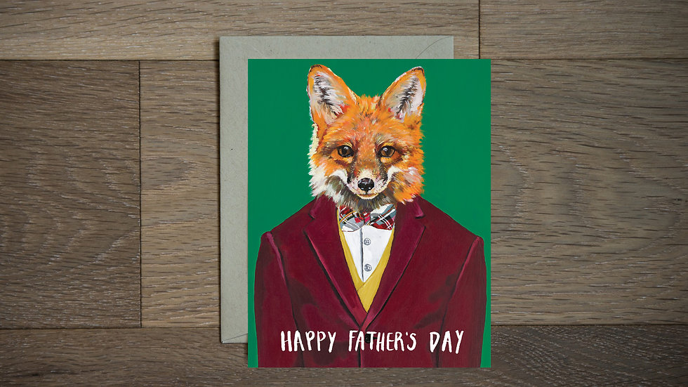 Handsome fox Father's Day greeting card