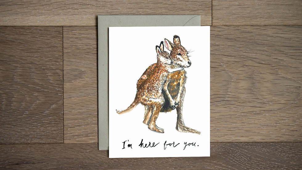 Kangaroo hug greeting card