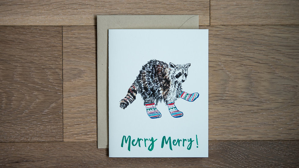 Raccoon holiday greeting card