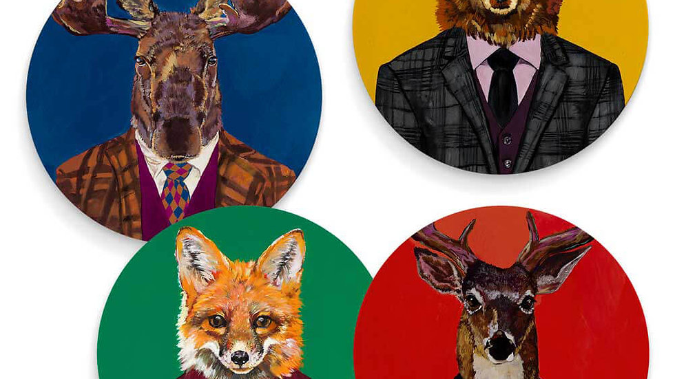 Fancy forest animals - Set of 4 coasters
