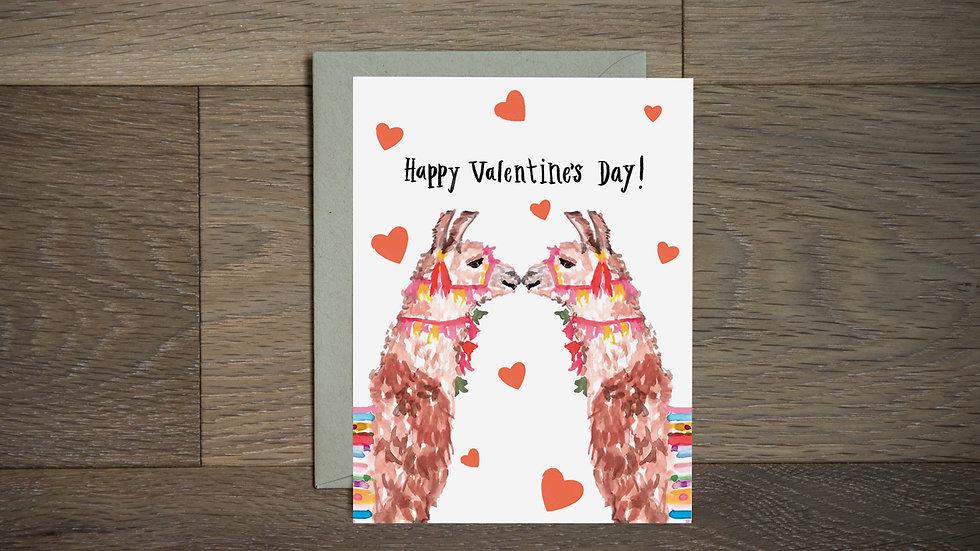 Llama love valentines card