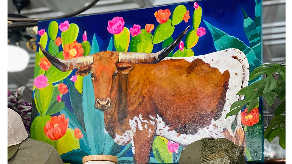 Longhorn and Cacti Original Painting