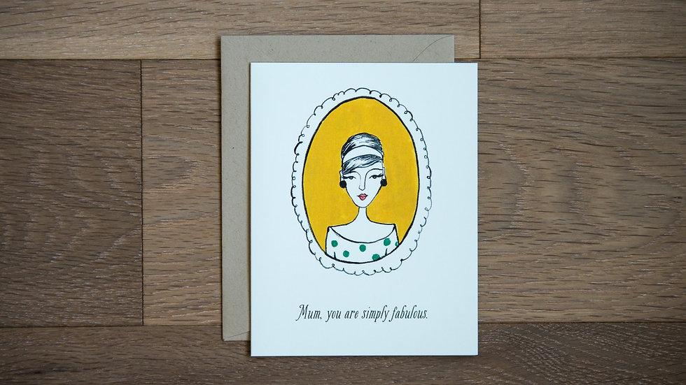 Fabulous mum greeting card