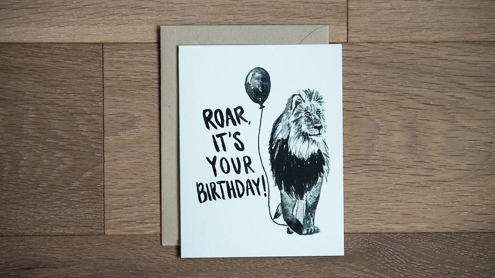 Birthday lion greeting card